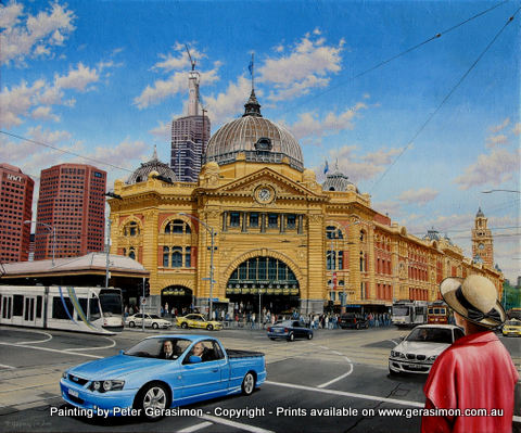 Painting of the Flinders Street Station in Melbourne Australia by Peter Gerasimon
