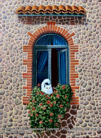 Italian Window with White Cat Painting by Peter Gerasimon