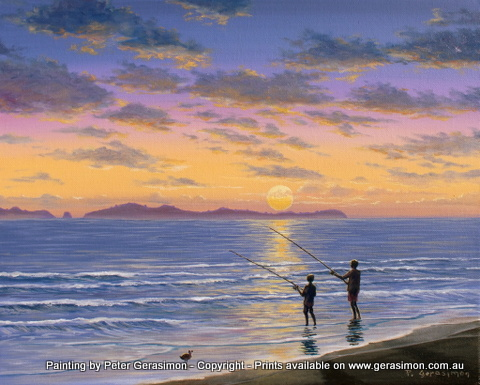Favourite Fishing Spot Wilsons Prom Australia Painting by Peter Gerasimon