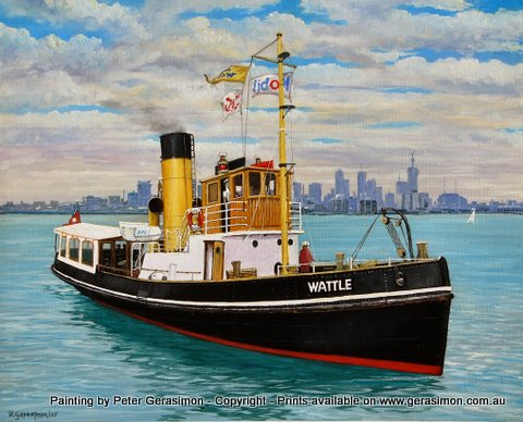 Wattel Steamer Wiliamstown Melbourne Painting by Peter Gerasimon